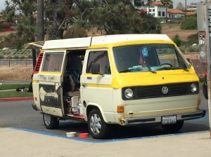 Banjo Benny's VW bus parked outside the Swami Headquarters near the beach.