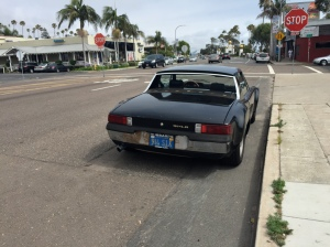 An old 914 6 parked on the streets of Leucadia.
