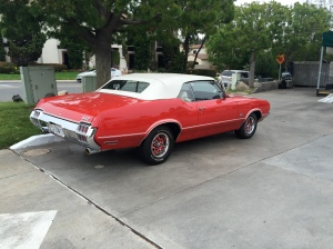 An Oldsmobile 442 in downtown Rancho Santa Fe.