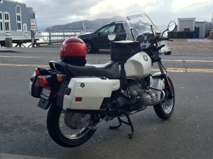 My old R100R at the Lighthouse Cafe in Sausalito.