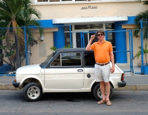 Philip with a Cuban style microcar