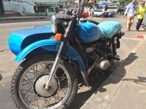 A Russian Ural sidecar rig, based on the 1938 BMW R71