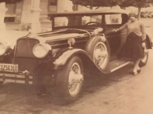 This is a photo of a photo taken at Sloppy Joe's. The car is a 1930 Stutz parked on the streets of Havana.